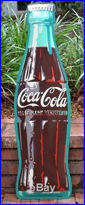 Vintage 36 Coca-Cola / Coke stamped metal bottle sign