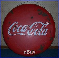 Vintage 36 Porcelain Coca Cola Button Sign Metal Advertising Coke Sign
