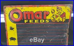 Vintage 39 Omar Feeds Metal Menu Sign Feed Seed Farm Farmhouse Cow Pig Chicken