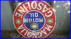 Vintage 42 Porcelain Metal Magnolia Motor Oil Gas Station Sign Large Original