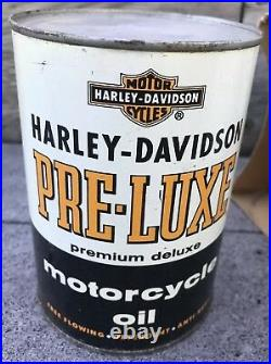 Vintage 50's HARLEY DAVIDSON 4 Qt Metal Oil Can FULL Pre Luxe Oil Premium Deluxe