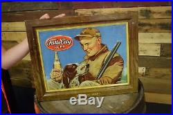 Vintage 50s Falls City Beer Embossed tin Metal Sign Hunting Shotgun Retriever