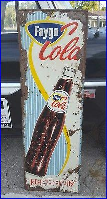 Vintage 54 Faygo Cola Vertical Metal Bottle Sign Soda Pilaster