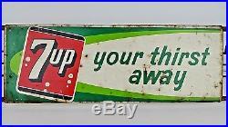 Vintage 7 Up Your Thirst Away Soda Pop Metal Door Push Sign Wire Logos 30 Long