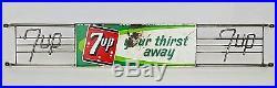 Vintage 7 Up Your Thirst Away Soda Pop Metal Door Push Sign Wire Logos 32.5