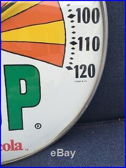 Vintage 7up 7 Up Peter Max Soda Pop Gas Oil 12 Metal Thermometer Sign Porcelain