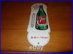 Vintage 7up Seven Up Soda Pop 18 Porcelain Metal Gasoline Oil Thermometer Sign