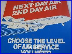 Vintage 90's era United Parcel Service UPS Next Day Air 2nd Day Air Metal Sign