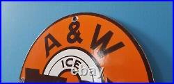 Vintage A & W Porcelain Metal Old Soda Beverage Root Beer Mug Bottle Sign