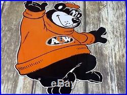 Vintage A&w Root Beer Die-cut Advertising Metal Bear Sign General Store Soda Pop