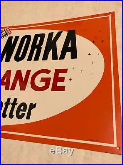 Vintage Akron Ohio Norka Orange Soda Bottle Sign Original Metal Advertising Vf