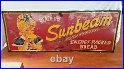 Vintage All Metal Sunbeam Bread Advertisement Sign