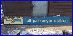Vintage Amtrak Railroad Passenger Train Station Metal Sign 12ft x 18