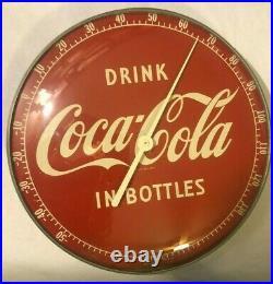 Vintage Antique Coca-Cola Round Metal Thermometer Sign -12 Diameter