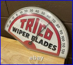 Vintage Antique Trico Wiper Blade Thermometer Sign Metal/ Glass