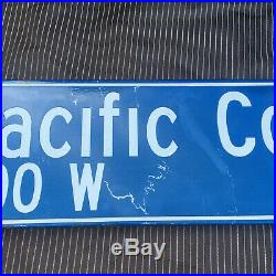 Vintage Authentic Los Angeles Pacific Coast HWY PCH street sign Porcelain Metal