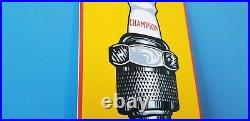 Vintage Automotive Spark Plugs Porcelain Metal Gas Auto Mechanic Service Sign