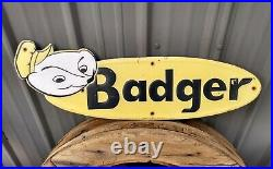 Vintage BADGER Embossed Original 22 Metal Advertising Sign Farm Wagon old gas