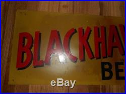 Vintage BLACKHAWK BEER Davenport Iowa IA Metal Advertising Sign w Native Indian
