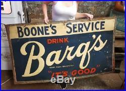 Vintage Barq's Metal Advertising Rare Sign Its Good Root Beer Embossed