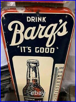Vintage Barq's Root Beer Metal Thermometer Sign GAS OIL SODA COLA
