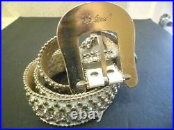 Vintage Bb Simon Belt Clear Ice Crystal Silver White Leather Signed
