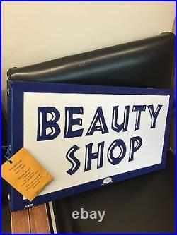 Vintage Beauty Shop Metal Flange Sign By William Marvy St Paul Minn Original