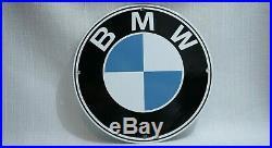 Vintage Bmw Porcelain Sign Ad Gas Metal Station Pump Plate Oil Rare Gasoline