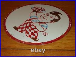 Vintage Bob's Big Boy Hamburger Restaurant 11 3/4 Porcelain Metal Gas Oil Sign