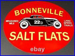 Vintage Bonneville Salt Flats Record 11 3/4 Porcelain Metal Gasoline Oil Sign