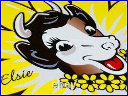 Vintage Borden's Dairy Elsie The Cow 11 3/4 Metal Ice Cream Gasoline Oil Sign