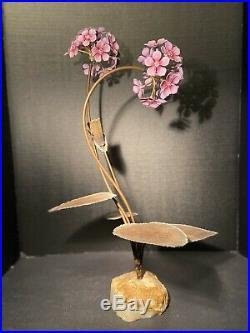 Vintage Brutalist Mid-Century Modern Signed Copper Metal Leaf Flower Sculpture