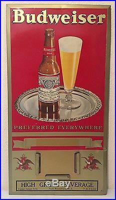 Vintage Budweiser Anheuser-Busch Tin Metal Sign & Calendar Beer Brewery