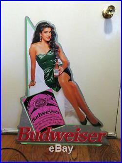 Vintage Budweiser King of Beers Beer Woman Original Metal Sign Man Cave Display