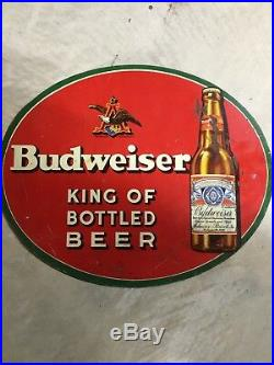 Vintage Budweiser Metal Beer Sign 1930s Anheuser Busch A&Eagle Bottle