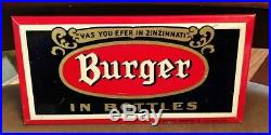 Vintage Burger Beer Brewing Toc Tin Over Cardboard Metal Sign Cincinnati Oh
