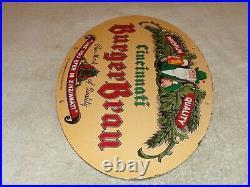 Vintage Burger Brau Beer Brewing Cincinnati 16.5 Porcelain Metal Gas & Oil Sign