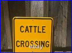 Vintage CATTLE CROSSING Sign Original Embossed Antique Farm Dairy Poultry Metal
