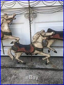 Vintage CURTIS JERE Large Metal Carousel Horse Wall Art Sculpture Decor
