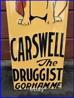 Vintage Carswell Veterinary Remedies Embossed Metal Sign Porcelain Gas Oil Dog