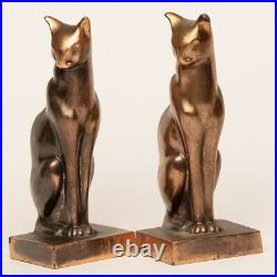 Vintage Cat Bookends Cast Metal Painted Gold Signed