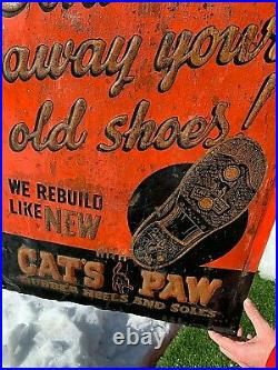 Vintage Cats Paw Clothing Shoe Repair Metal Sign With Black Cat Graphic