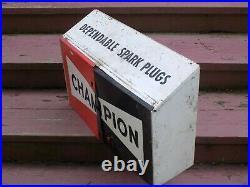 Vintage Champion Spark Plug Metal Cabinet