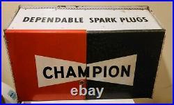 Vintage Champion Spark Plug Metal Cabinet With Keys 1960s Gas oil mancave garage