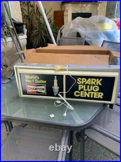 Vintage Champion Spark Plugs Gas Station Embossed Lighted Metal/Plastic Sign