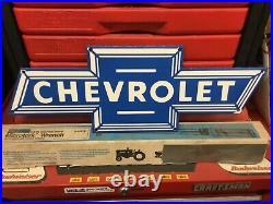 Vintage Chevrolet Bowtie Metal Porcelain Sign