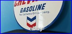 Vintage Chevron Gasoline California Oil Metal Porcelain Gas Service Station Sign
