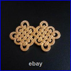 Vintage Christian Dior Brooch Goldtone Chinese Knot Pin Signed Marked