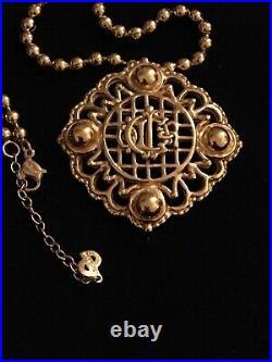 Vintage Christian Dior CD Logo Signed Gold Tone Necklace