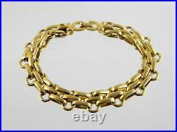 Vintage Christian Dior Goldtone Metal Panther Link Bracelet Signed 7.75 Inches